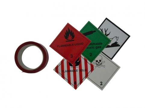 Veszélyes anyagot jelölő matricák és biztonsági szalagok
