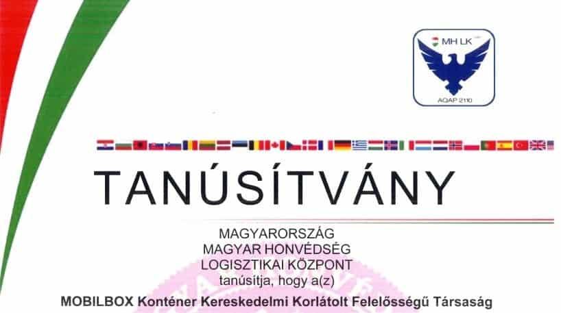 NATO megfelelőségi tanúsítvány (AQAP 2110:2016)