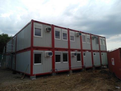 Konténer munkásszálló és irodakonténer a berettyóújfalui  börtönkórház építési munkálataihoz